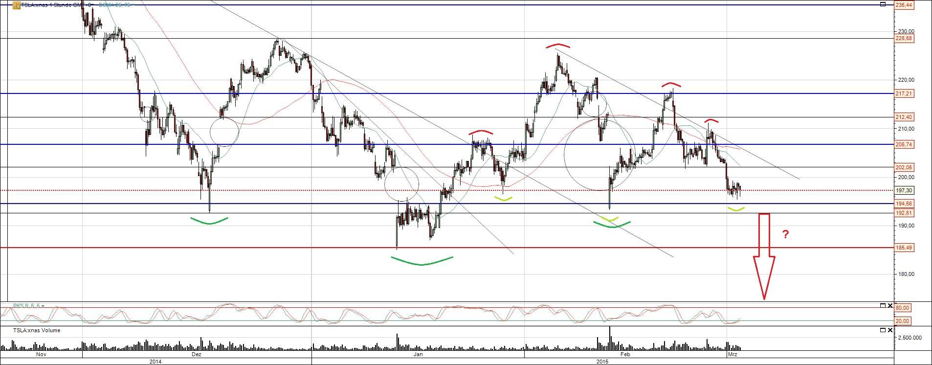 Tesla Chart Analyse Bodenbildung oder Absturz